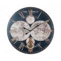 Horloge Cartographie & Balancier, Mod. Noir & Doré, H 58 cm