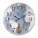 Horloge Murale MDF : Planisphère Bleu, Mod Balancier, H 58 cm