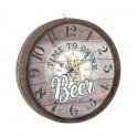 Horloge Bois à thème : Modèle Tonneau de bière, Diamètre 40 cm
