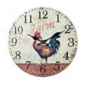 Horloge Murale Coq de Campagne 1, Modèle Rouge, H 34 cm