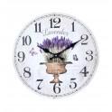 Horloge murale lavande de Provence et Papillons, 34 cm