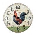 Horloge Murale Coq de Campagne 1, Modèle Vert, H 34 cm