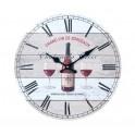 Horloge rétro Vin : Modèle Chardonnay Rouge, H 34 cm