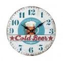 Horloge Vintage Bière : Modèle Cold Beer, Mod Bleu. H 34 cm