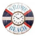 Horloge MDF Thème Mer : Welcome at The Beach, H 58 cm