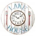 Horloge MDF Thème Nature : La Maison du Lac, H 58 cm