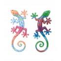 Déco Gecko Mural : Set 2 lézards Multicolores, H 20 cm