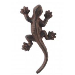 Patère murale Gecko : Lézard en fonte, L 12 cm.