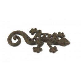 Patère murale Gecko : Lézard en fonte, L 17 cm.