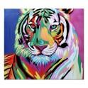 Tableau Animaux Design : Lion Multicolore Pop Art, H 60 cm