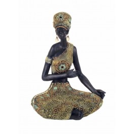Statuette Africaine Assise, Collection Kenya, H 36 cm