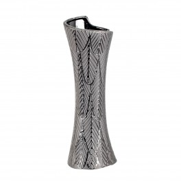 Vase céramique design : Modèle Droit Feuille d'Argent, Moyen H 39 cm