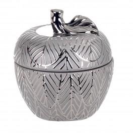 Boite Pomme céramique design : Modèle Feuille d'Argent, H 17 cm