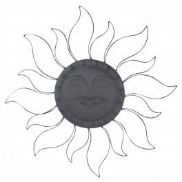 Le Soleil Mural Fer, Anthracite et Rayons ajourés, Diam 62 cm