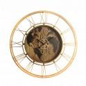 Horloge Murale à Engrenages, Modèle Planisphère Bois, Diam 70 cm