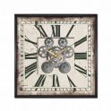 Horloge Carrée à Engrenages, Modèle Rétro Gris et Noir, Diam 45 cm