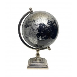 Globe terrestre, Noir & Gris. Collection Mundo, H 32 cm