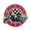 Horloge Métal Rouge & Turquoise : Modèle Moto, L 44 cm