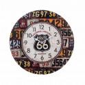 Horloge en Bois, Noir & Orange : Modèle Route 66, Diam 34 cm