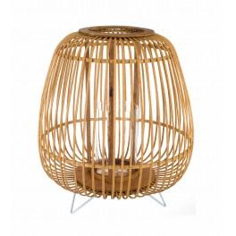 Lanterne en Bois de Bambou sur Pieds, Collection Zen. H 49 cm