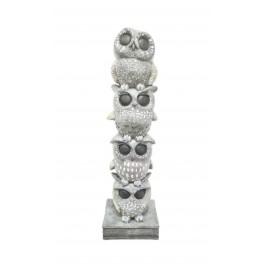 Figurine en résine : 4 chouettes Argentées, H 35 cm