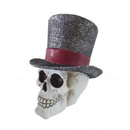 Grande Tête de mort avec Chapeau, Blanche et Noire. H 20 cm
