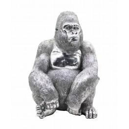 Statue Gorille Design, Finition Argent Brillant, H 39 cm