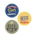 Set 3 Dessous de plat : Modèles Capsule de bière, L 16 cm