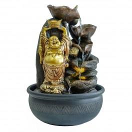 Fontaine intérieure L : Bouddha Doré et 5 vasques, Zentrends. H 38 cm