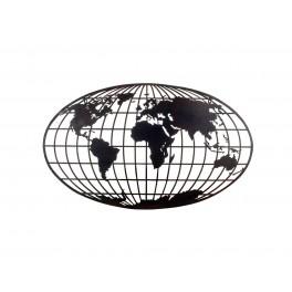 Silhouette Murale Métal : Cartographie du monde, L 101 cm