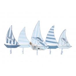Porte-Manteaux & Patère Mer : Cinq voilier Blanc Bleu, L 74 cm
