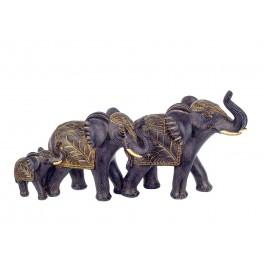 Famille 3 Eléphants Résine, Modèle Jungle Chic Noir et Doré, L 31 cm