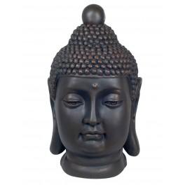 Sculpture Tête Bouddha XL, Mod Résine Ambré, H 52 cm