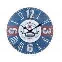 Horloge MDF Mer : Mod Phare Bleu et Bateau, Diam 34 cm