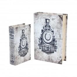 Set 2 Boites Livres : Mod Train et Locomotive, H 27 cm (Grand)