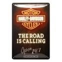 Plaque 3D métal Harley Davidson 20x30 cm : Pin-up sur Harley noire