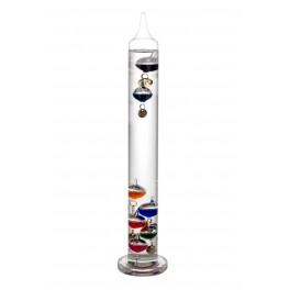 Grand Thermomètre de Galilée en Verre, Forme Cylindre, H 40 cm