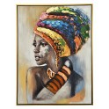 Tableau Peinture Femme : Africaine en Couleurs, H 80 cm