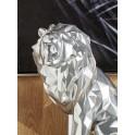 Grande Sculpture Lion Rugissant, Modèle Origami Gris Argent, H 41 cm