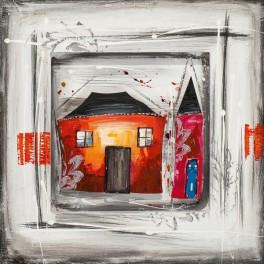 Tableau peint encadré : Fun house, H 50 cm